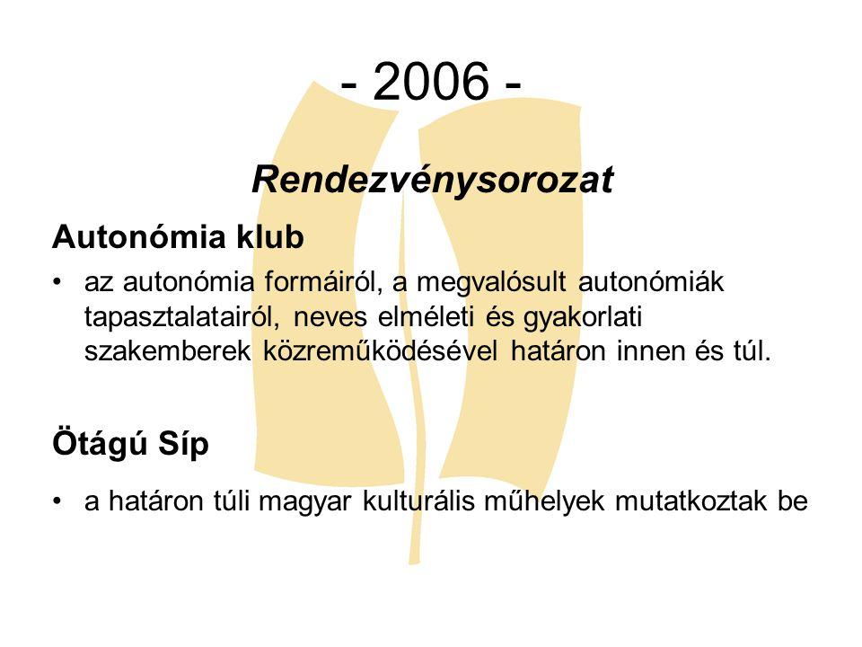 - 2006 - Rendezvénysorozat Autonómia klub az autonómia formáiról, a megvalósult autonómiák tapasztalatairól, neves elméleti és gyakorlati szakemberek