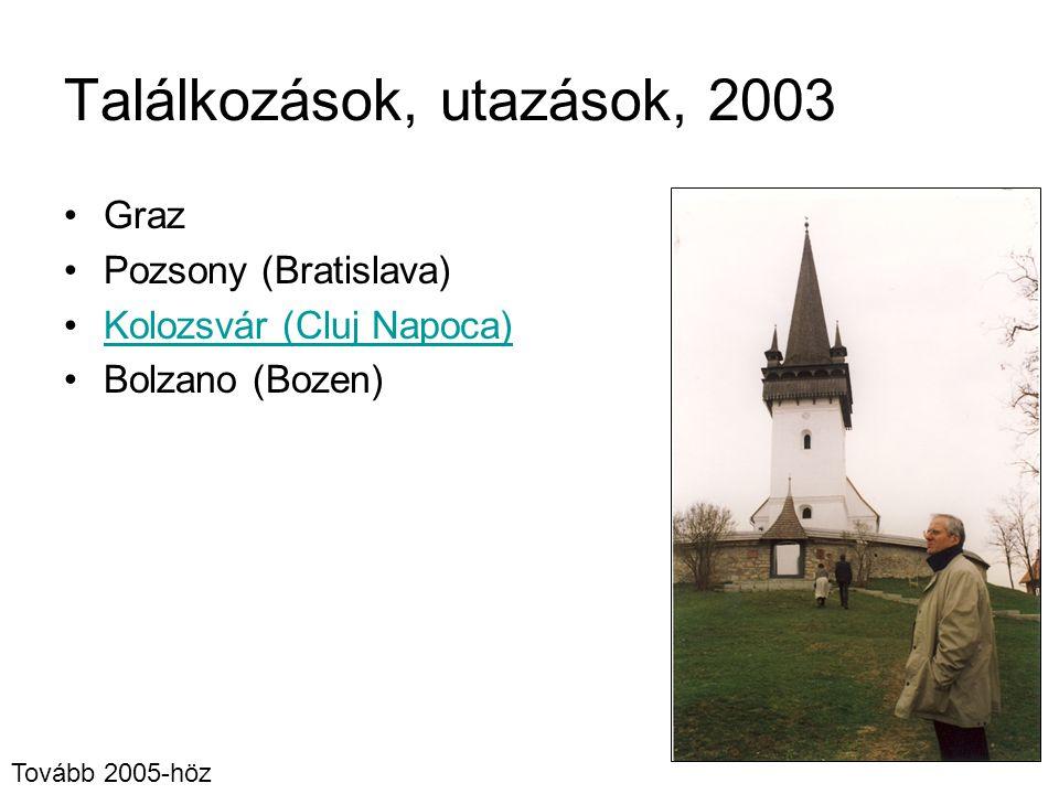 Találkozások, utazások, 2003 Graz Pozsony (Bratislava) Kolozsvár (Cluj Napoca) Bolzano (Bozen) Tovább 2005-höz