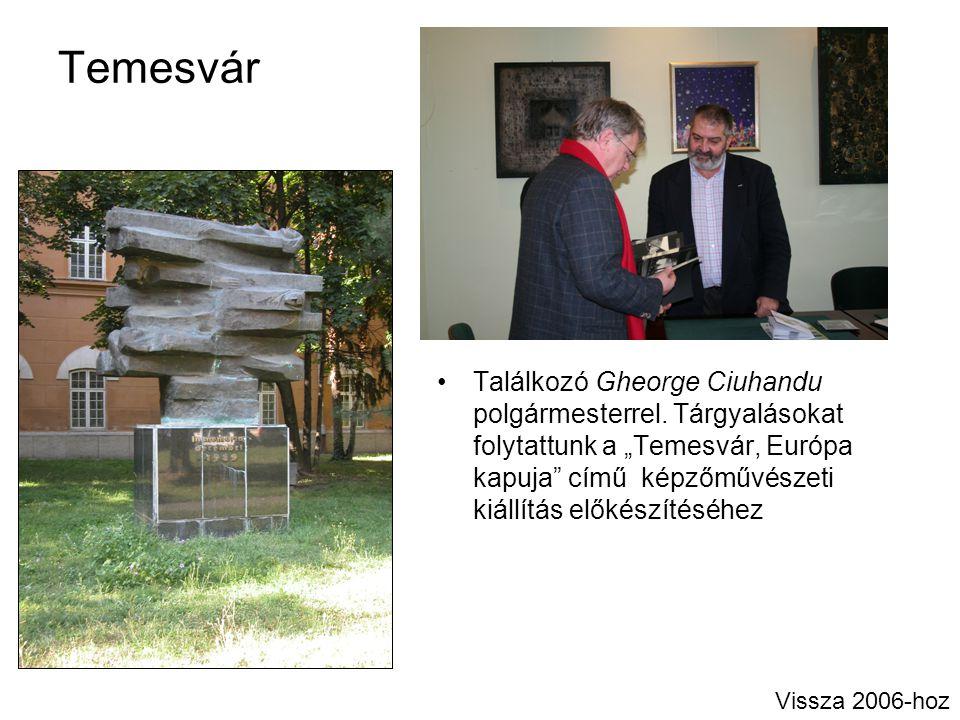 """Temesvár Találkozó Gheorge Ciuhandu polgármesterrel. Tárgyalásokat folytattunk a """"Temesvár, Európa kapuja"""" című képzőművészeti kiállítás előkészítéséh"""