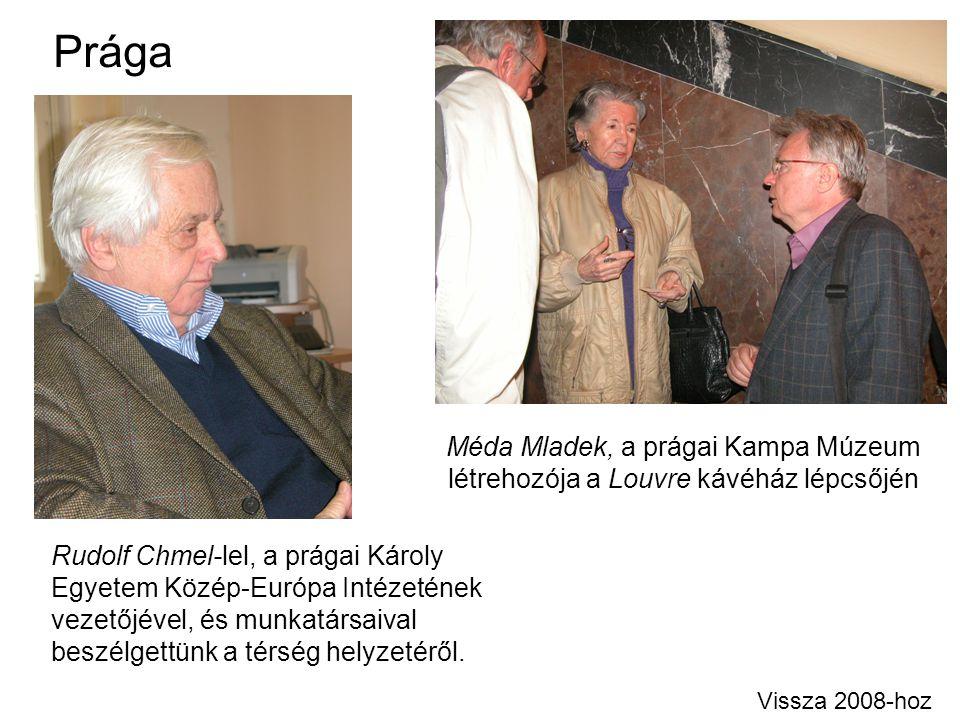 Prága Méda Mladek, a prágai Kampa Múzeum létrehozója a Louvre kávéház lépcsőjén Vissza 2008-hoz Rudolf Chmel-lel, a prágai Károly Egyetem Közép-Európa