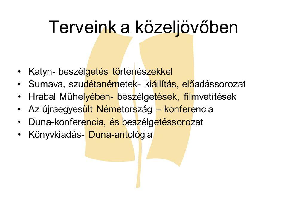 Terveink a közeljövőben Katyn- beszélgetés történészekkel Sumava, szudétanémetek- kiállítás, előadássorozat Hrabal Műhelyében- beszélgetések, filmvetí