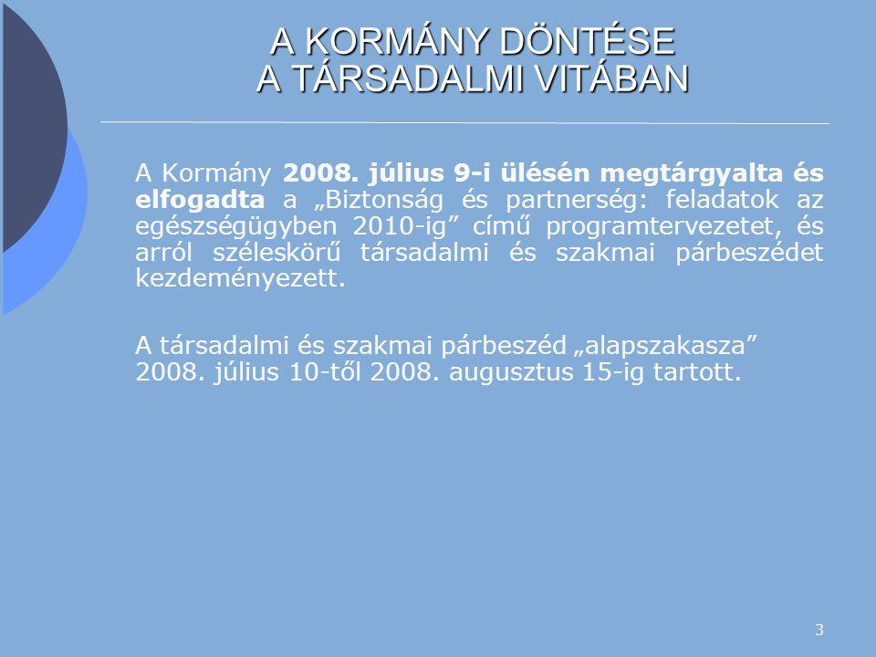 4 TÁRSADALMI VITA  A minisztérium több mint 100 szervezet részére közvetlenül juttatta el a programjavaslatot, és kérte fel a vitában való részvételre, illetve arra, hogy vitassák meg, és 2008.