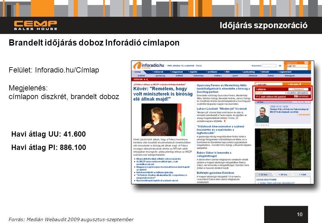 10 Brandelt időjárás doboz Inforádió címlapon Felület: Inforadio.hu/Címlap Megjelenés: címlapon diszkrét, brandelt doboz Forrás: Medián Webaudit 2009