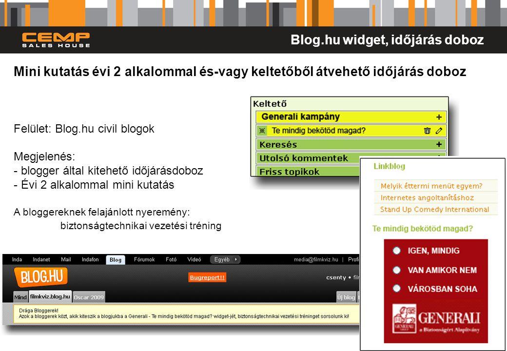 13 Mini kutatás évi 2 alkalommal és-vagy keltetőből átvehető időjárás doboz Felület: Blog.hu civil blogok Megjelenés: - blogger által kitehető időjárá