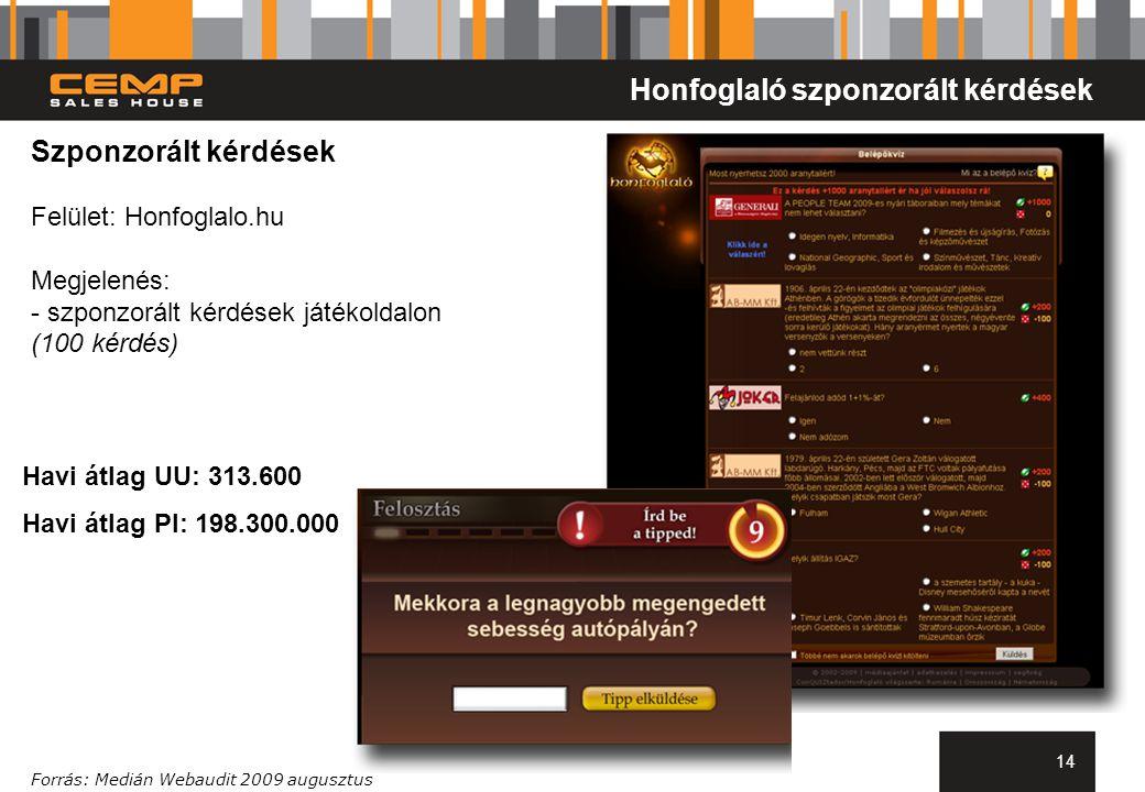 14 Szponzorált kérdések Felület: Honfoglalo.hu Megjelenés: - szponzorált kérdések játékoldalon (100 kérdés) Forrás: Medián Webaudit 2009 augusztus Honfoglaló szponzorált kérdések Havi átlag UU: 313.600 Havi átlag PI: 198.300.000