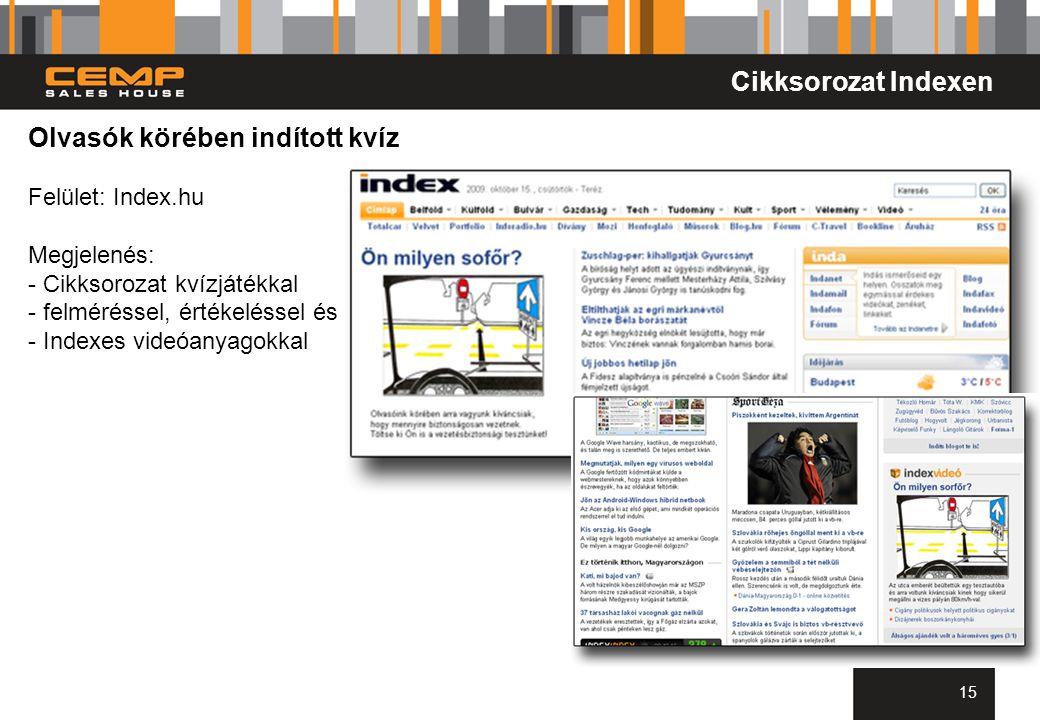 15 Olvasók körében indított kvíz Felület: Index.hu Megjelenés: - Cikksorozat kvízjátékkal - felméréssel, értékeléssel és - Indexes videóanyagokkal Cik