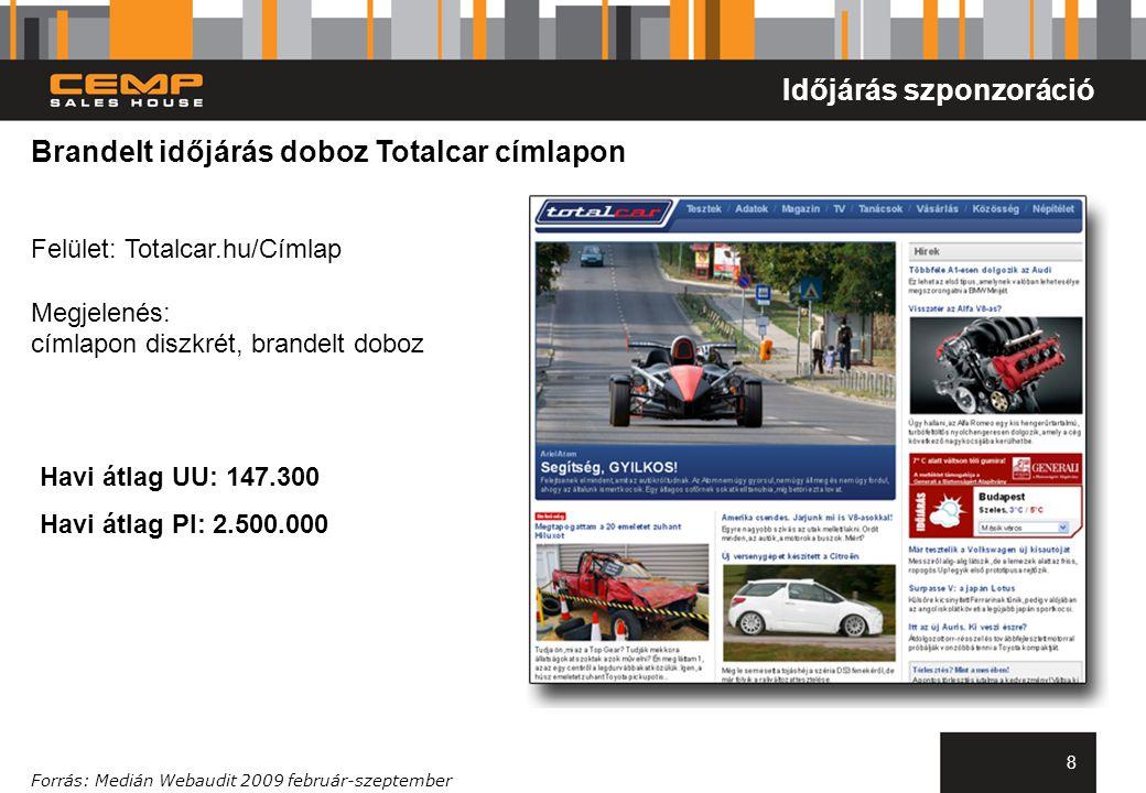 8 Brandelt időjárás doboz Totalcar címlapon Felület: Totalcar.hu/Címlap Megjelenés: címlapon diszkrét, brandelt doboz Forrás: Medián Webaudit 2009 feb