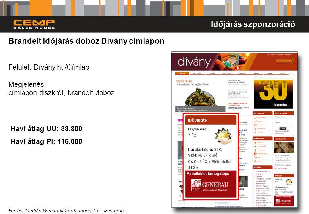 9 Brandelt időjárás doboz Dívány címlapon Felület: Dívány.hu/Címlap Megjelenés: címlapon diszkrét, brandelt doboz Forrás: Medián Webaudit 2009 auguszt