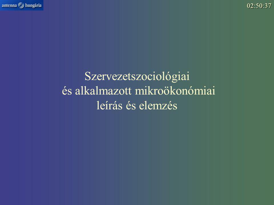 Szervezetszociológiai és alkalmazott mikroökonómiai leírás és elemzés02:52:15