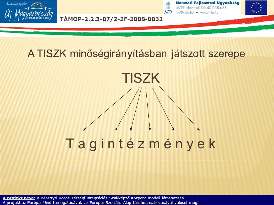 TISZK T a g i n t é z m é n y e k A TISZK minőségirányításban játszott szerepe A projekt neve: A Berettyó-Körös Térségi Integrációs Szakképző Központ modell létrehozása A projekt az Európai Unió támogatásával, az Európai Szociális Alap társfinanszírozásával valósul meg.