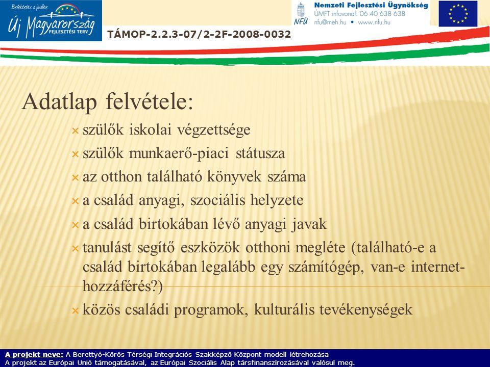 Adatlap felvétele:  szülők iskolai végzettsége  szülők munkaerő-piaci státusza  az otthon található könyvek száma  a család anyagi, szociális helyzete  a család birtokában lévő anyagi javak  tanulást segítő eszközök otthoni megléte (található-e a család birtokában legalább egy számítógép, van-e internet- hozzáférés )  közös családi programok, kulturális tevékenységek TÁMOP-2.2.3-07/2-2F-2008-0032 A projekt neve: A Berettyó-Körös Térségi Integrációs Szakképző Központ modell létrehozása A projekt az Európai Unió támogatásával, az Európai Szociális Alap társfinanszírozásával valósul meg.