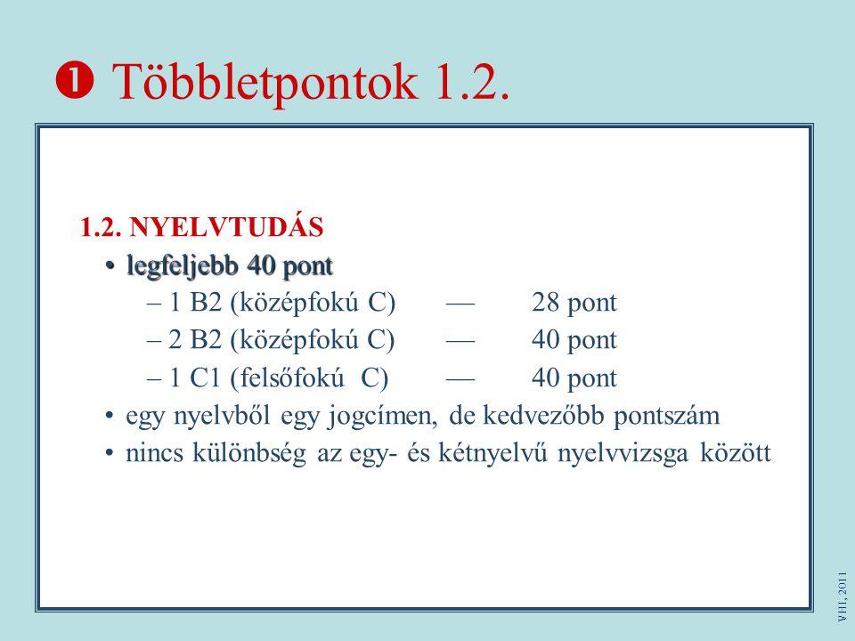 Többletpontok 1.2. 1.2. NYELVTUDÁS legfeljebb 40 pontlegfeljebb 40 pont –1 B2 (középfokú C)—28 pont –2 B2 (középfokú C) —40 pont –1 C1 (felsőfokúC)—