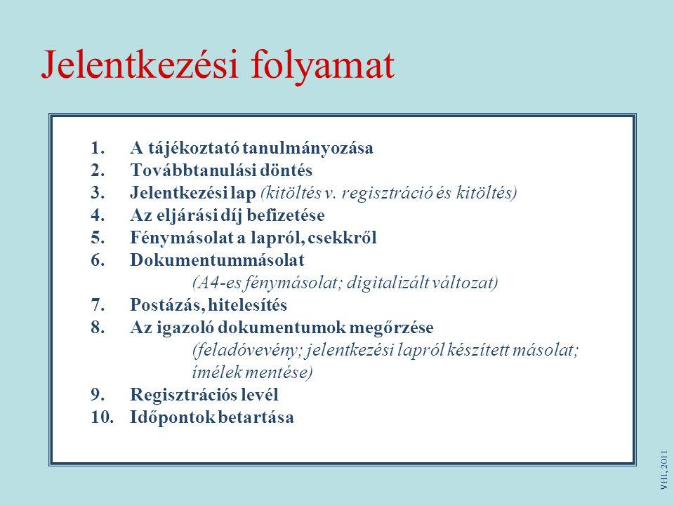 Jelentkezési folyamat 1.A tájékoztató tanulmányozása 2.Továbbtanulási döntés 3.Jelentkezési lap (kitöltés v. regisztráció és kitöltés) 4.Az eljárási d
