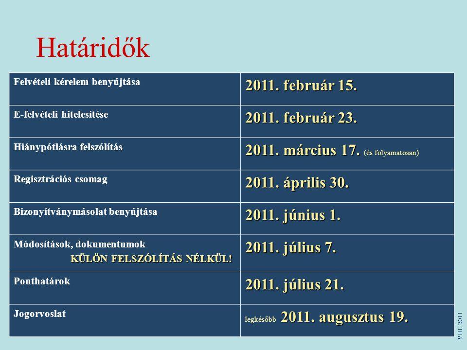 Határidők Felvételi kérelem benyújtása 2011. február 15. E-felvételi hitelesítése 2011. február 23. Hiánypótlásra felszólítás 2011. március 17. 2011.