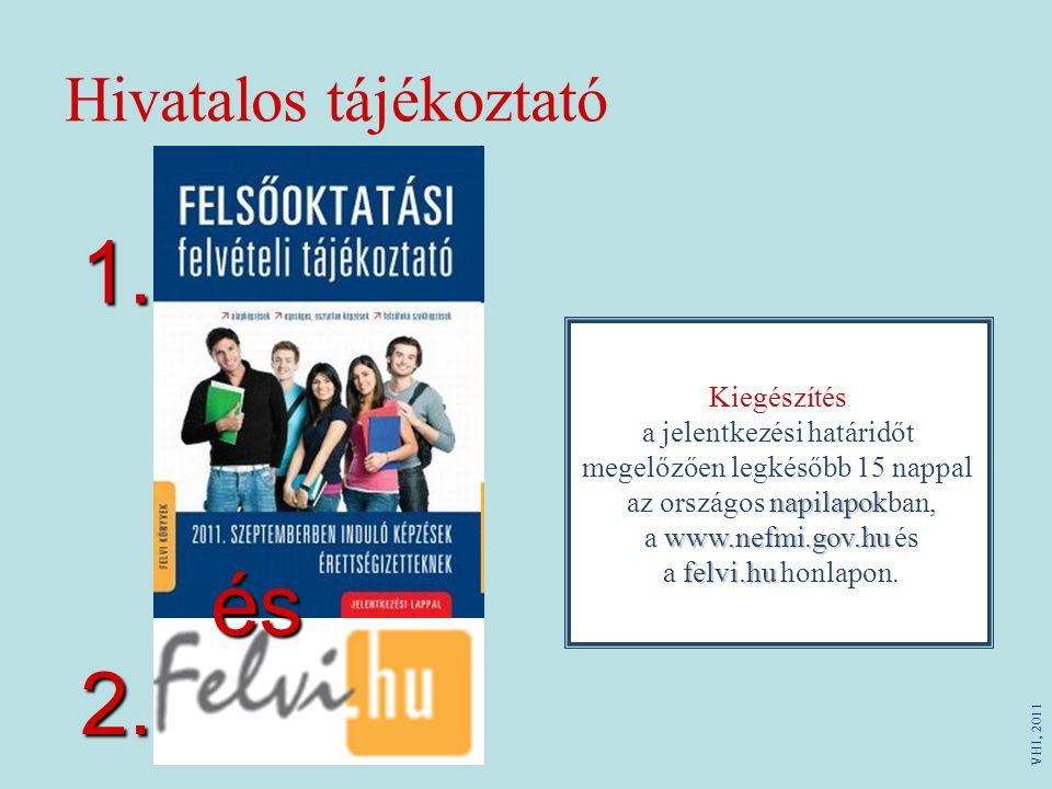 Hivatalos tájékoztató Kiegészítés a jelentkezési határidőt megelőzően legkésőbb 15 nappal napilapok www.nefmi.gov.hu felvi.hu az országos napilapokban