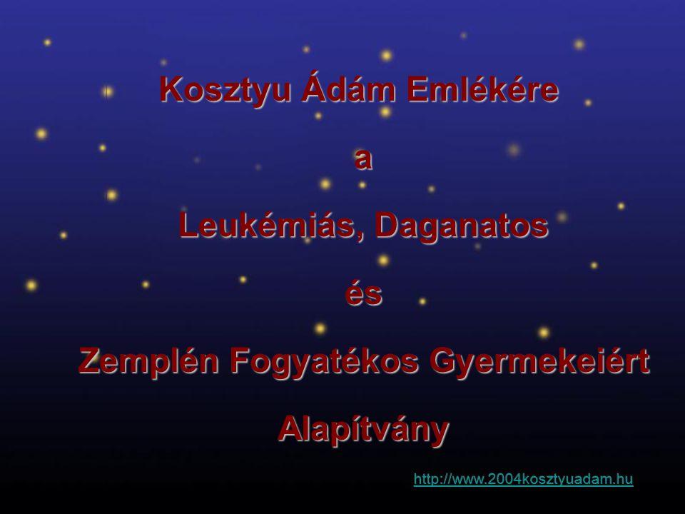 Kosztyu Ádám Emlékére a Leukémiás, Daganatos Leukémiás, Daganatos és és Zemplén Fogyatékos Gyermekeiért Zemplén Fogyatékos Gyermekeiért Alapítvány Ala
