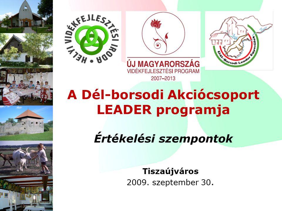 A Dél-borsodi Akciócsoport LEADER programja Értékelési szempontok Tiszaújváros 2009. szeptember 30.