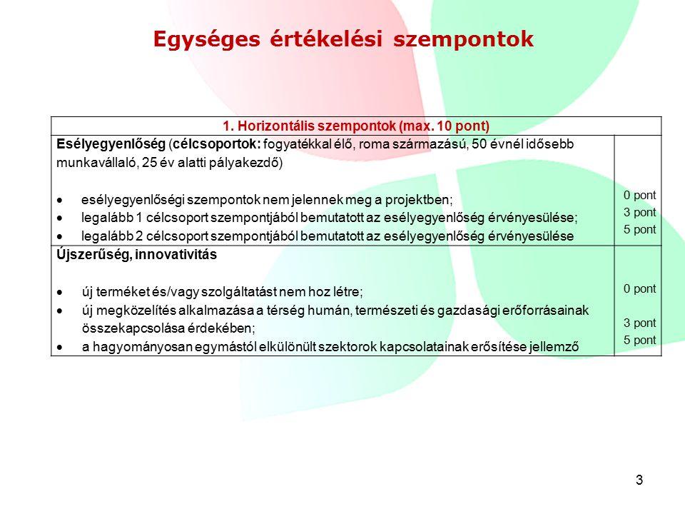 3 Egységes értékelési szempontok 1. Horizontális szempontok (max.