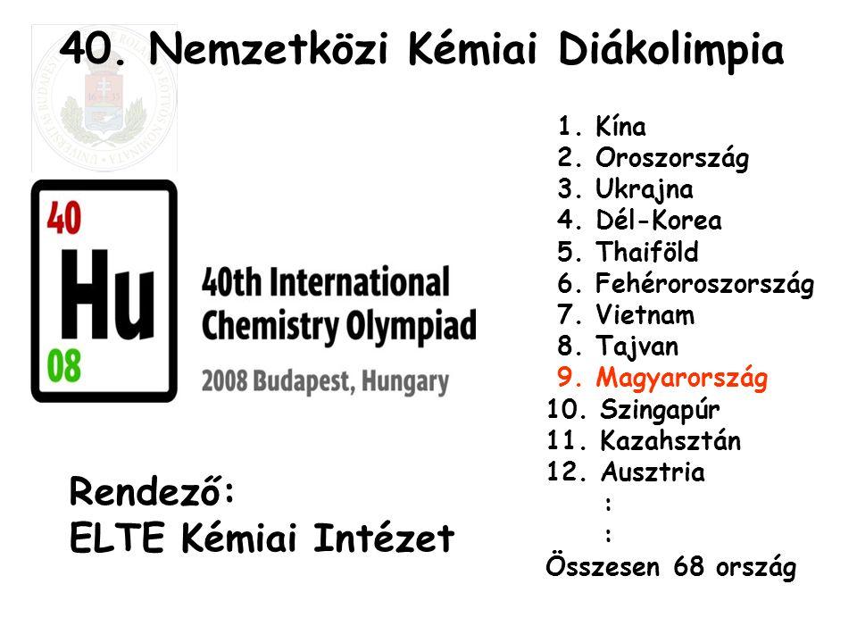 40. Nemzetközi Kémiai Diákolimpia 1. Kína 2. Oroszország 3. Ukrajna 4. Dél-Korea 5. Thaiföld 6. Fehéroroszország 7. Vietnam 8. Tajvan 9. Magyarország