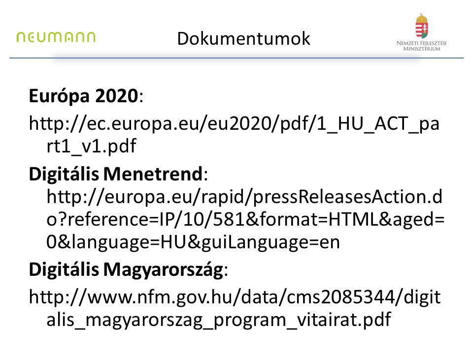 Európa 2020: http://ec.europa.eu/eu2020/pdf/1_HU_ACT_pa rt1_v1.pdf Digitális Menetrend: http://europa.eu/rapid/pressReleasesAction.d o reference=IP/10/581&format=HTML&aged= 0&language=HU&guiLanguage=en Digitális Magyarország: http://www.nfm.gov.hu/data/cms2085344/digit alis_magyarorszag_program_vitairat.pdf Dokumentumok
