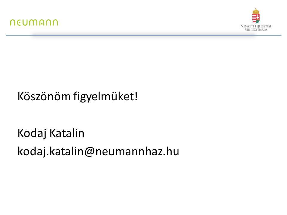 Köszönöm figyelmüket! Kodaj Katalin kodaj.katalin@neumannhaz.hu