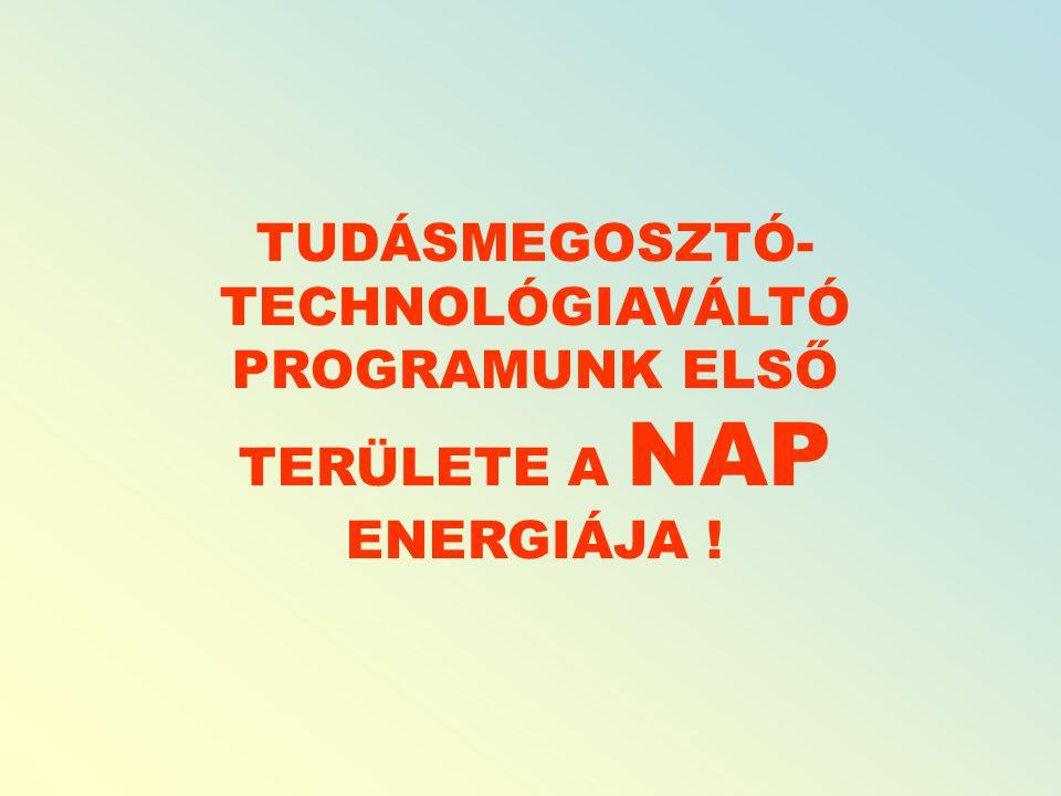TUDÁSMEGOSZTÓ- TECHNOLÓGIAVÁLTÓ PROGRAMUNK ELSŐ TERÜLETE A NAP ENERGIÁJA !
