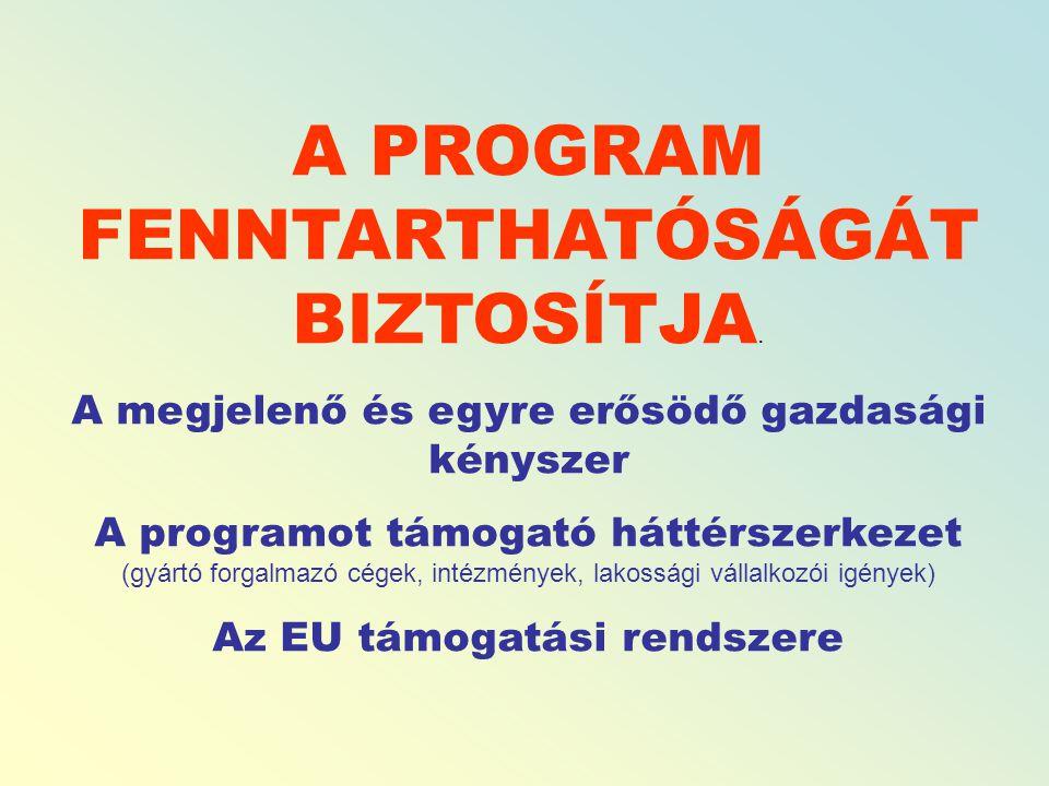 A PROGRAM FENNTARTHATÓSÁGÁT BIZTOSÍTJA.