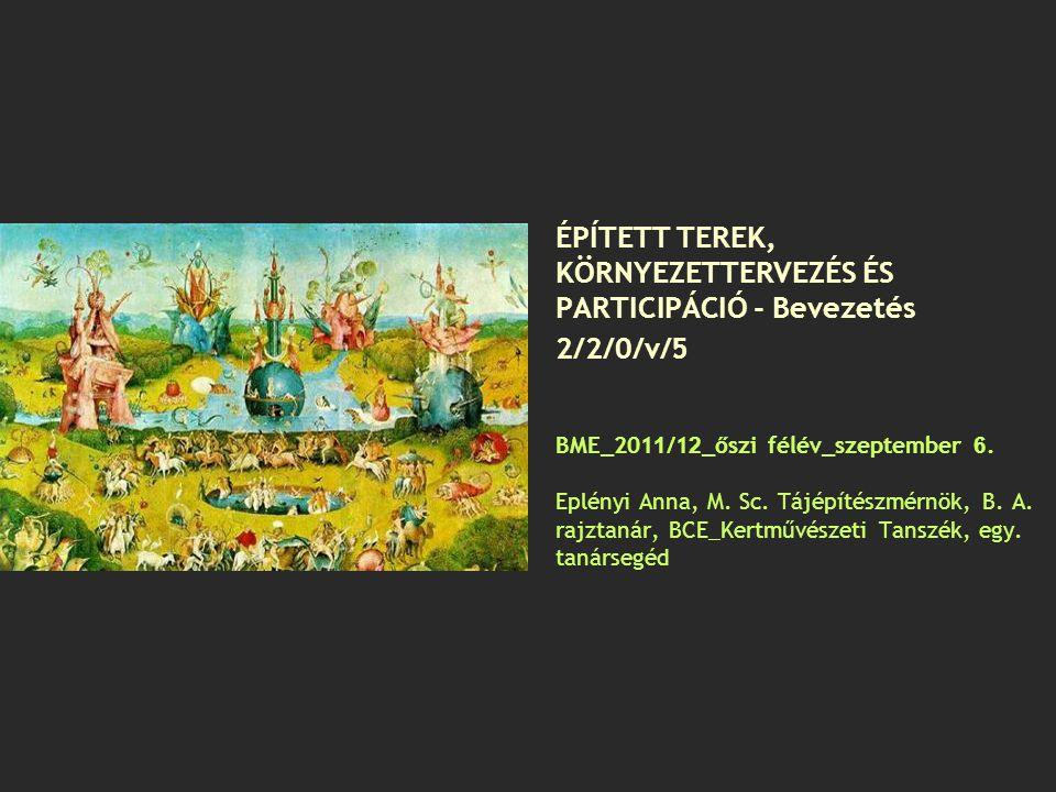 Témakörök Tájkép-preferenciák Tájképfestészet-történet Tájépítészet szakterületei Térépítő elemek morfológiája (terek, térfalak, fókuszok, ösvények, küszöbterek) Szabadkézi rajzfeladatok Helyszíni park/szabadtér analizálás Kerttörténet 1.