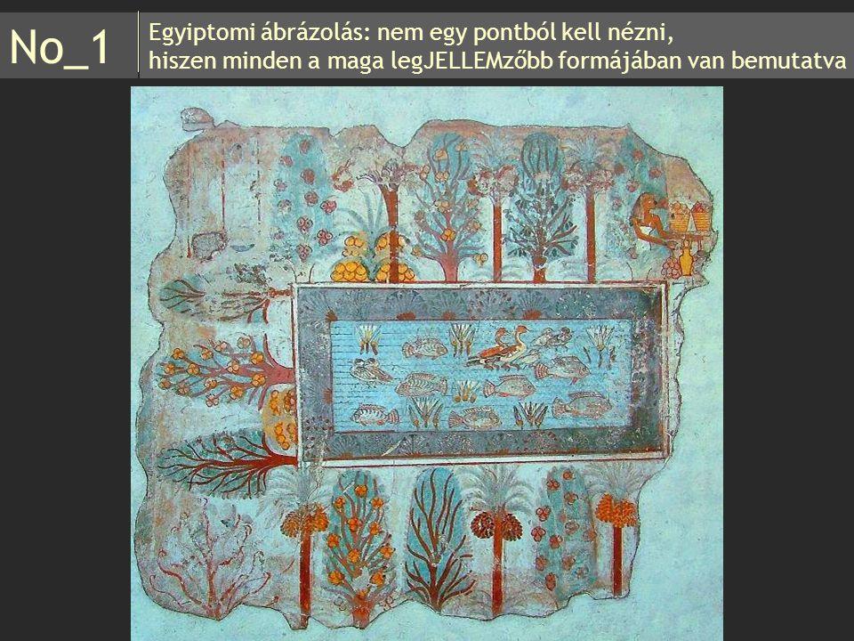 Egyiptomi ábrázolás: nem egy pontból kell nézni, hiszen minden a maga legJELLEMzőbb formájában van bemutatva No_1