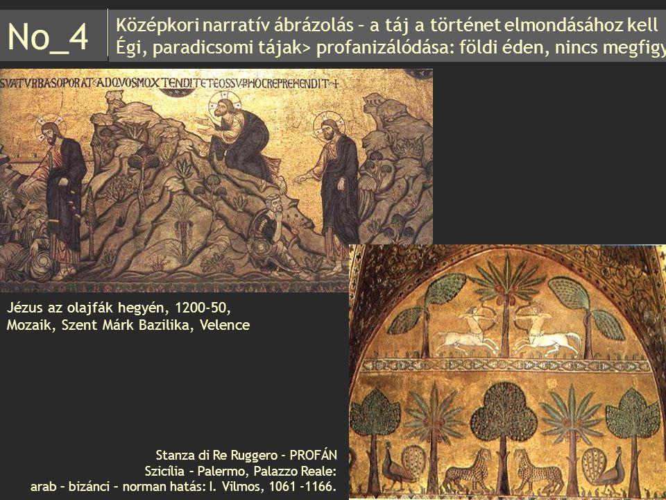 Középkori narratív ábrázolás – a táj a történet elmondásához kell Égi, paradicsomi tájak> profanizálódása: földi éden, nincs megfigy. No_4 Jézus az ol