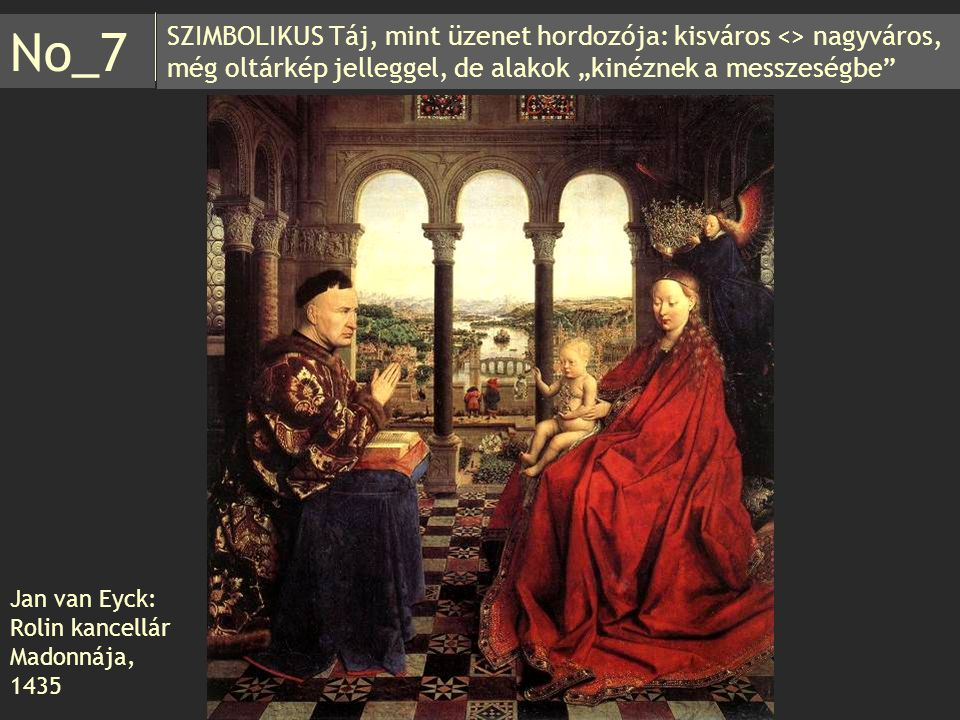 """SZIMBOLIKUS Táj, mint üzenet hordozója: kisváros <> nagyváros, még oltárkép jelleggel, de alakok """"kinéznek a messzeségbe"""" No_7 Jan van Eyck: Rolin kan"""