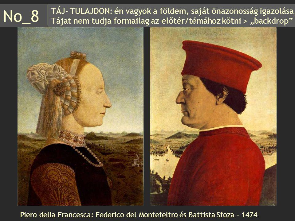"""TÁJ- TULAJDON: én vagyok a földem, saját önazonosság igazolása, Tájat nem tudja formailag az előtér/témához kötni > """"backdrop"""" No_8 Piero della France"""