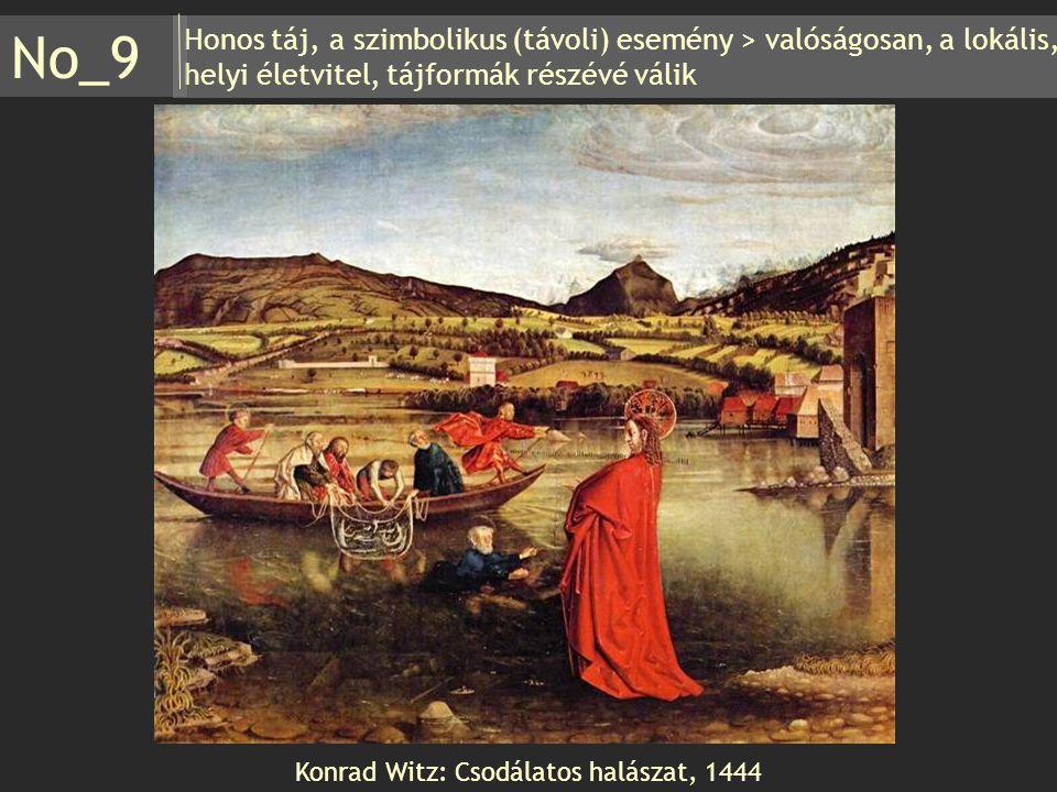 Honos táj, a szimbolikus (távoli) esemény > valóságosan, a lokális, helyi életvitel, tájformák részévé válik No_9 Konrad Witz: Csodálatos halászat, 14