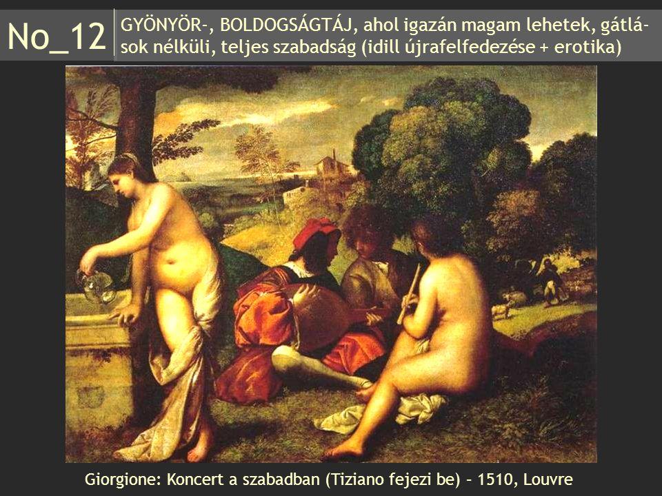 GYÖNYÖR-, BOLDOGSÁGTÁJ, ahol igazán magam lehetek, gátlá- sok nélküli, teljes szabadság (idill újrafelfedezése + erotika) No_12 Giorgione: Koncert a s
