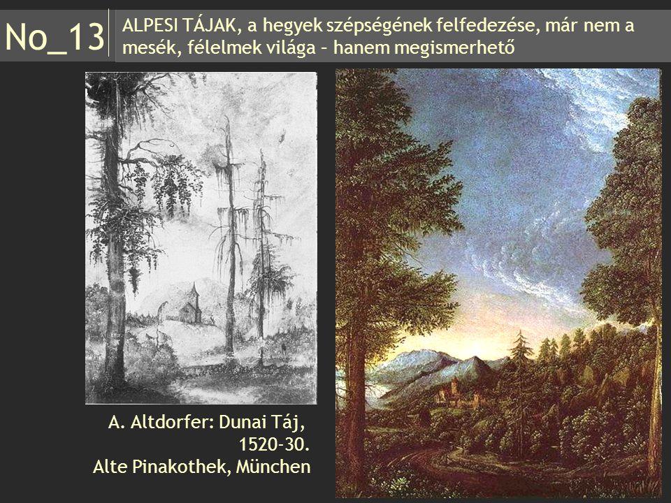 ALPESI TÁJAK, a hegyek szépségének felfedezése, már nem a mesék, félelmek világa – hanem megismerhető No_13 A. Altdorfer: Dunai Táj, 1520-30. Alte Pin