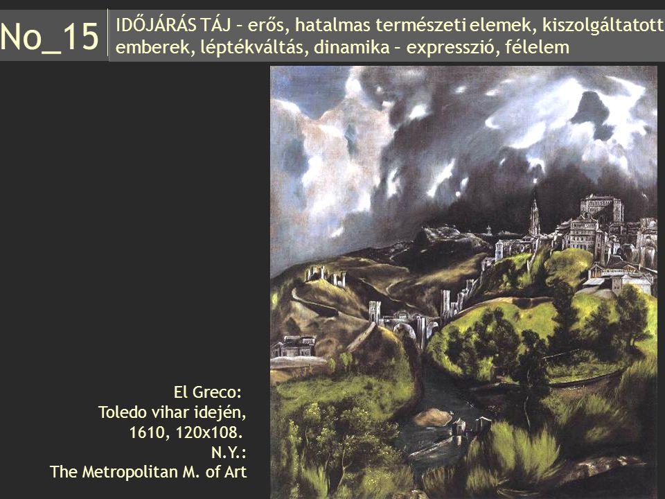 IDŐJÁRÁS TÁJ – erős, hatalmas természeti elemek, kiszolgáltatott emberek, léptékváltás, dinamika – expresszió, félelem No_15 El Greco: Toledo vihar id