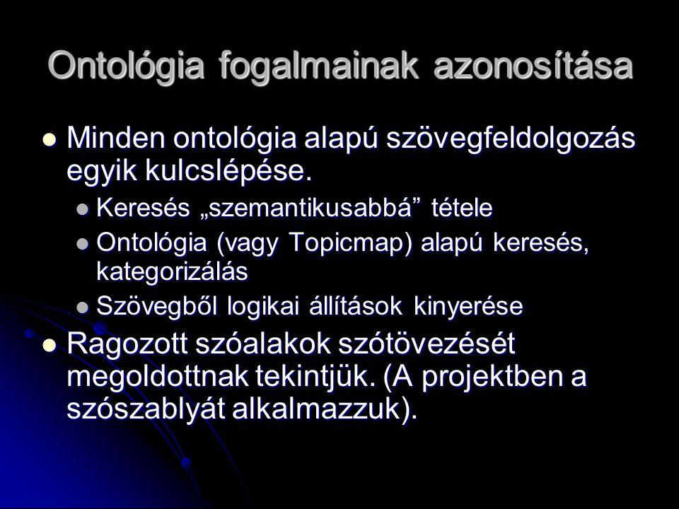 Ontológia fogalmainak azonosítása Minden ontológia alapú szövegfeldolgozás egyik kulcslépése.