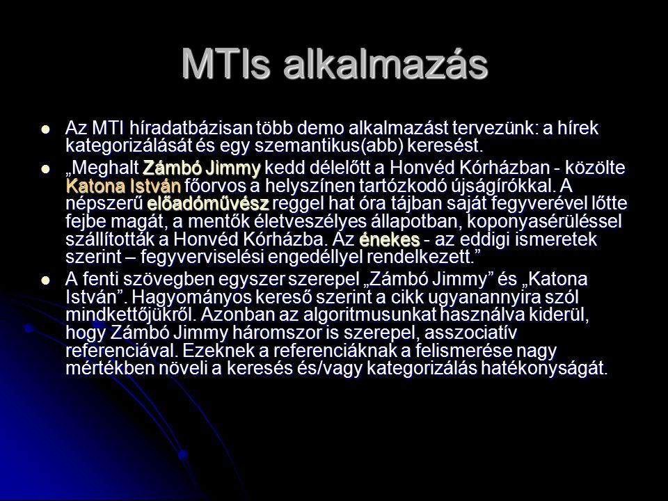MTIs alkalmazás Az MTI híradatbázisan több demo alkalmazást tervezünk: a hírek kategorizálását és egy szemantikus(abb) keresést.