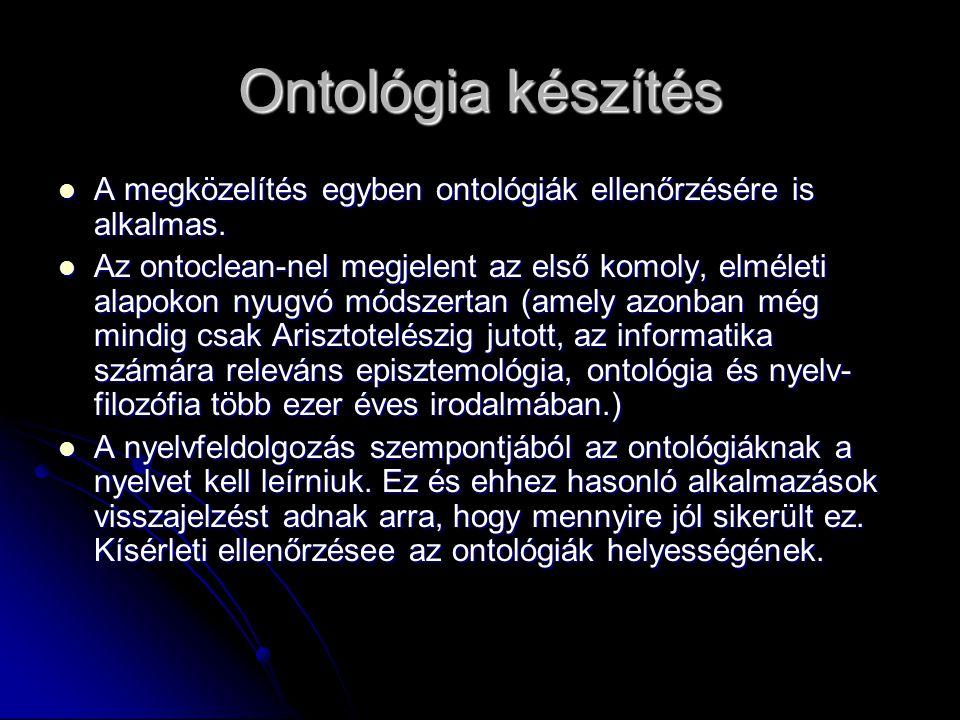 Ontológia készítés A megközelítés egyben ontológiák ellenőrzésére is alkalmas.