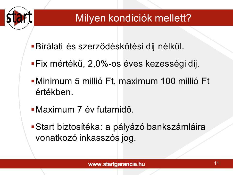 www.startgarancia.hu 11 Milyen kondíciók mellett.  Bírálati és szerződéskötési díj nélkül.