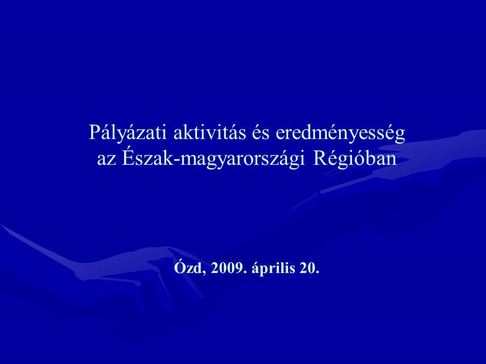 Pályázati aktivitás és eredményesség az Észak-magyarországi Régióban Ózd, 2009. április 20.