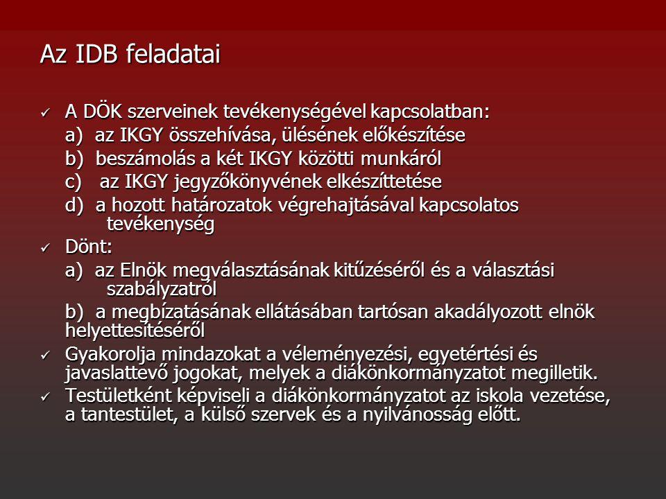 Az IDB feladatai A DÖK szerveinek tevékenységével kapcsolatban: A DÖK szerveinek tevékenységével kapcsolatban: a) az IKGY összehívása, ülésének előkészítése b) beszámolás a két IKGY közötti munkáról c) az IKGY jegyzőkönyvének elkészíttetése d) a hozott határozatok végrehajtásával kapcsolatos tevékenység Dönt: Dönt: a) az Elnök megválasztásának kitűzéséről és a választási szabályzatról b) a megbízatásának ellátásában tartósan akadályozott elnök helyettesítéséről Gyakorolja mindazokat a véleményezési, egyetértési és javaslattevő jogokat, melyek a diákönkormányzatot megilletik.