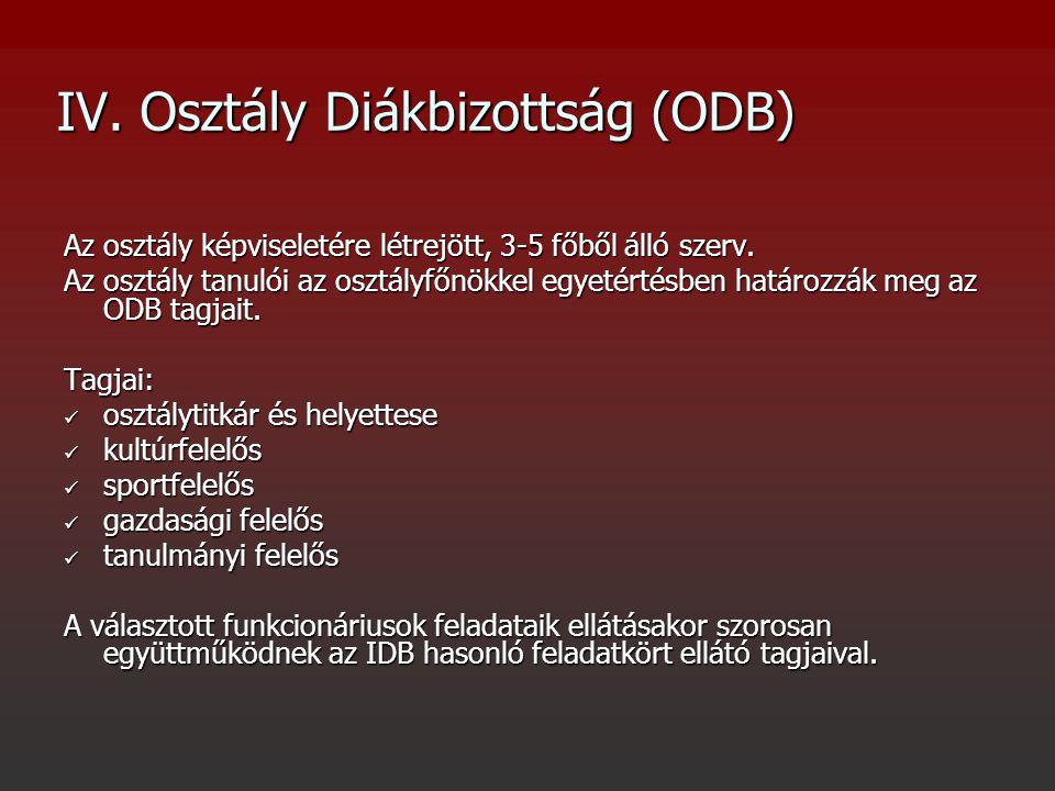 IV. Osztály Diákbizottság (ODB) Az osztály képviseletére létrejött, 3-5 főből álló szerv.