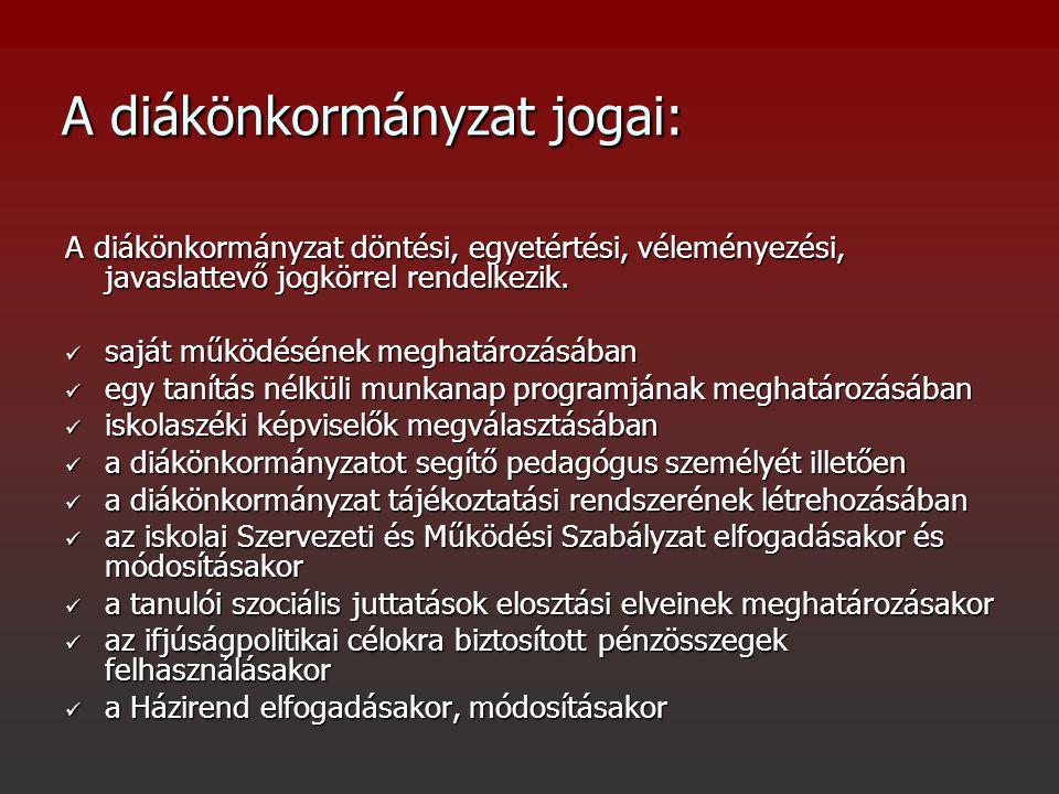 A diákönkormányzat jogai: A diákönkormányzat döntési, egyetértési, véleményezési, javaslattevő jogkörrel rendelkezik.