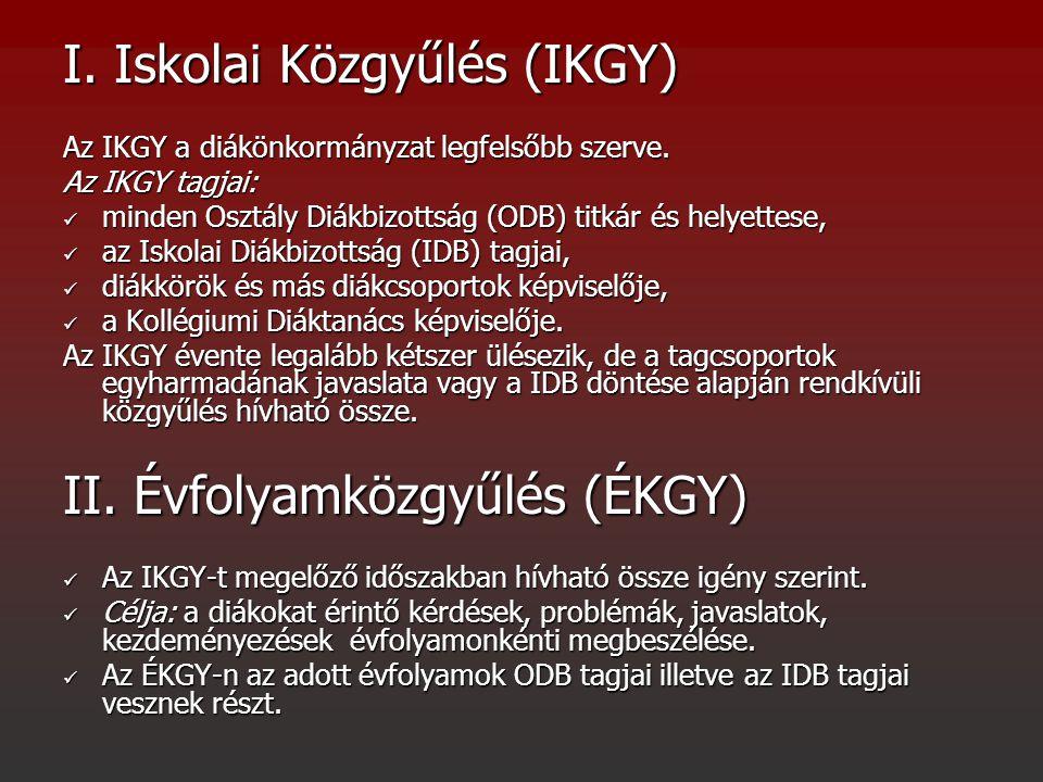 I. Iskolai Közgyűlés (IKGY) Az IKGY a diákönkormányzat legfelsőbb szerve. Az IKGY tagjai: minden Osztály Diákbizottság (ODB) titkár és helyettese, min