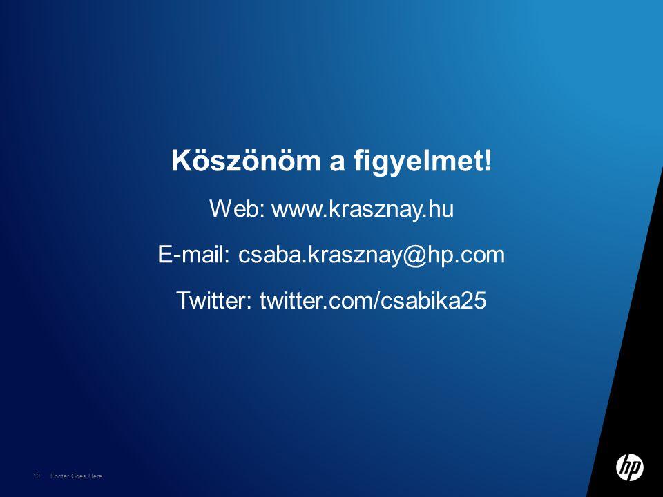 10 Footer Goes Here Köszönöm a figyelmet! Web: www.krasznay.hu E-mail: csaba.krasznay@hp.com Twitter: twitter.com/csabika25