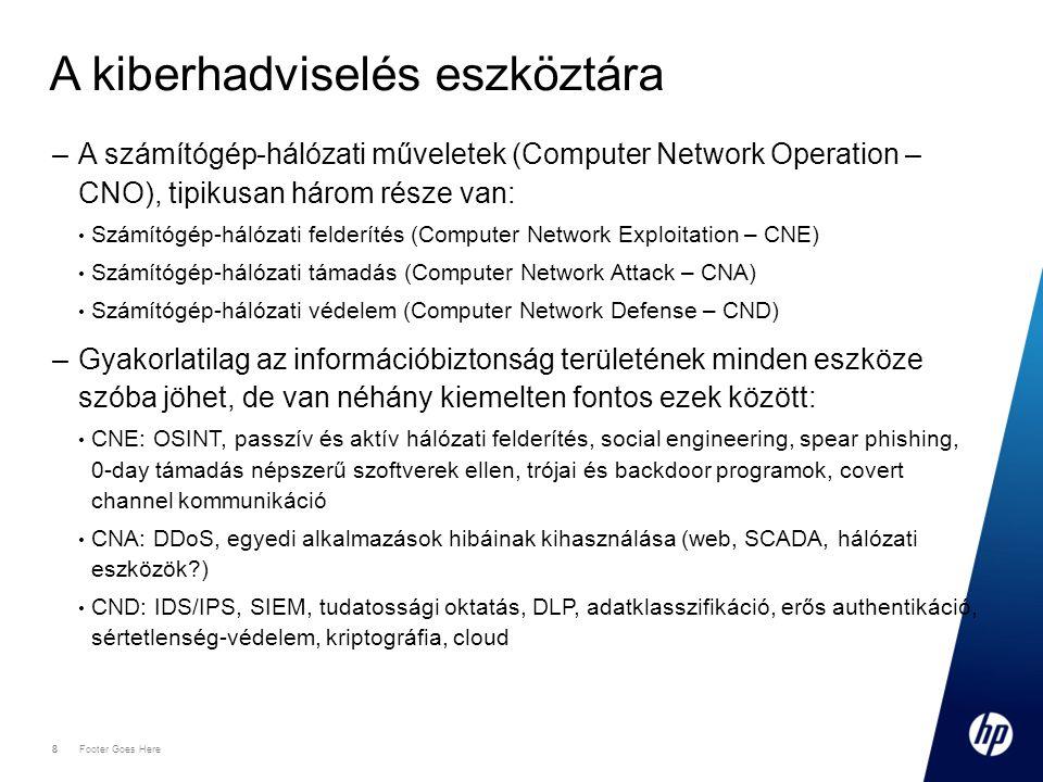 8 Footer Goes Here 8 A kiberhadviselés eszköztára –A számítógép-hálózati műveletek (Computer Network Operation – CNO), tipikusan három része van: Számítógép-hálózati felderítés (Computer Network Exploitation – CNE) Számítógép-hálózati támadás (Computer Network Attack – CNA) Számítógép-hálózati védelem (Computer Network Defense – CND) –Gyakorlatilag az információbiztonság területének minden eszköze szóba jöhet, de van néhány kiemelten fontos ezek között: CNE: OSINT, passzív és aktív hálózati felderítés, social engineering, spear phishing, 0-day támadás népszerű szoftverek ellen, trójai és backdoor programok, covert channel kommunikáció CNA: DDoS, egyedi alkalmazások hibáinak kihasználása (web, SCADA, hálózati eszközök ) CND: IDS/IPS, SIEM, tudatossági oktatás, DLP, adatklasszifikáció, erős authentikáció, sértetlenség-védelem, kriptográfia, cloud