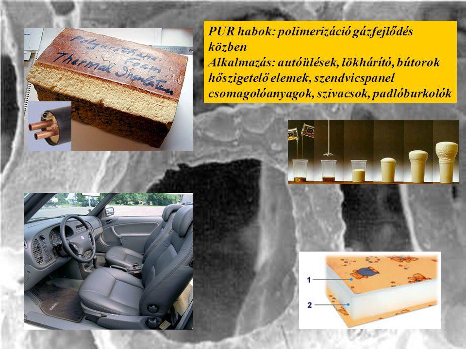 PUR habok: polimerizáció gázfejlődés közben Alkalmazás: autóülések, lökhárító, bútorok hőszigetelő elemek, szendvicspanel csomagolóanyagok, szivacsok,