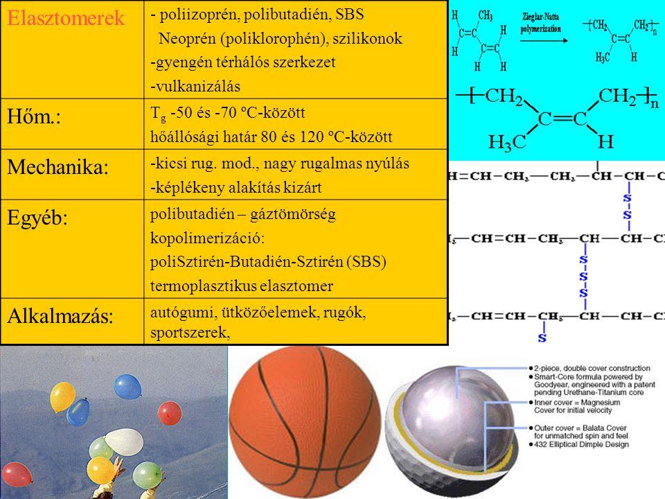 Elasztomerek - poliizoprén, polibutadién, SBS Neoprén (poliklorophén), szilikonok -gyengén térhálós szerkezet -vulkanizálás Hőm.: T g -50 és -70 ºC-kö