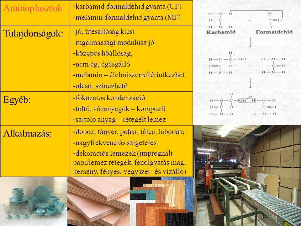 Aminoplasztok -karbamid-formaldehid gyanta (UF) -melamin-formaldehid gyanta (MF) Tulajdonságok: -jó, ütésállóság kicsi -rugalmassági modulusz jó -közepes hőállóság, -nem ég, égésgátló -melamin – élelmiszerrel érintkezhet -olcsó, színezhető Egyéb: -fokozatos kondenzáció -töltő, vázanyagok – kompozit -sajtoló anyag – rétegelt lemez Alkalmazás: -doboz, tányér, pohár, tálca, laboráru -nagyfrekvenciás szigetelés -dekorációs lemezek (impregnált papírlemez rétegek, fenolgyatás mag, kemény, fényes, vegyszer- és vízálló)
